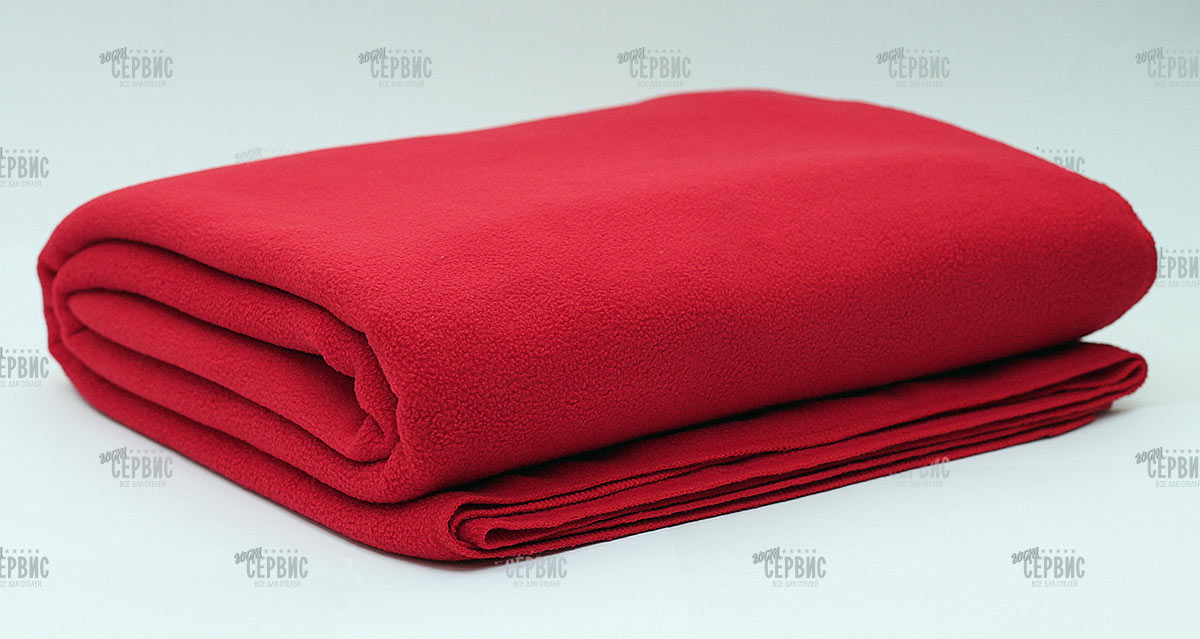 Плед флисовый красный